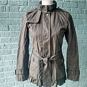 Banana Republic Ruffled and Belted Military Jacket
